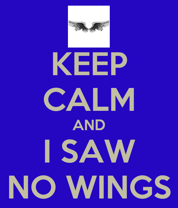 KEEP CALM AND I SAW NO WINGS