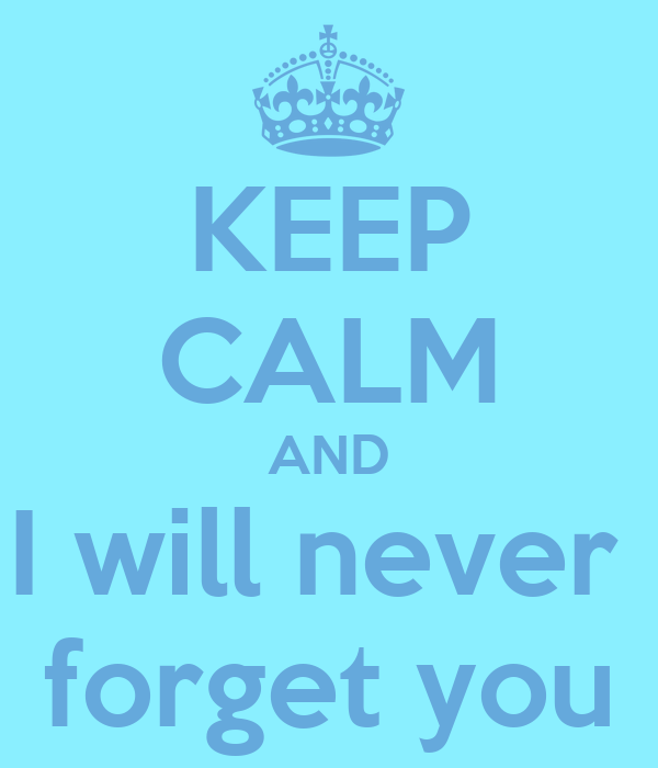 KEEP CALM AND I will never  forget you