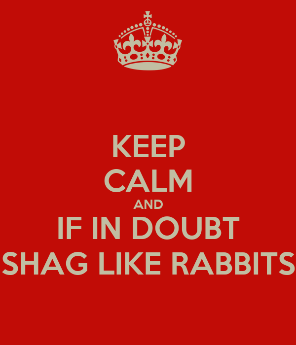 KEEP CALM AND IF IN DOUBT SHAG LIKE RABBITS