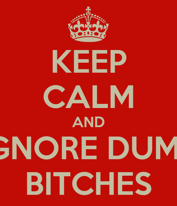 KEEP CALM AND IGNORE DUMB BITCHES
