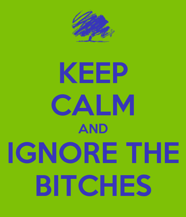 KEEP CALM AND IGNORE THE BITCHES