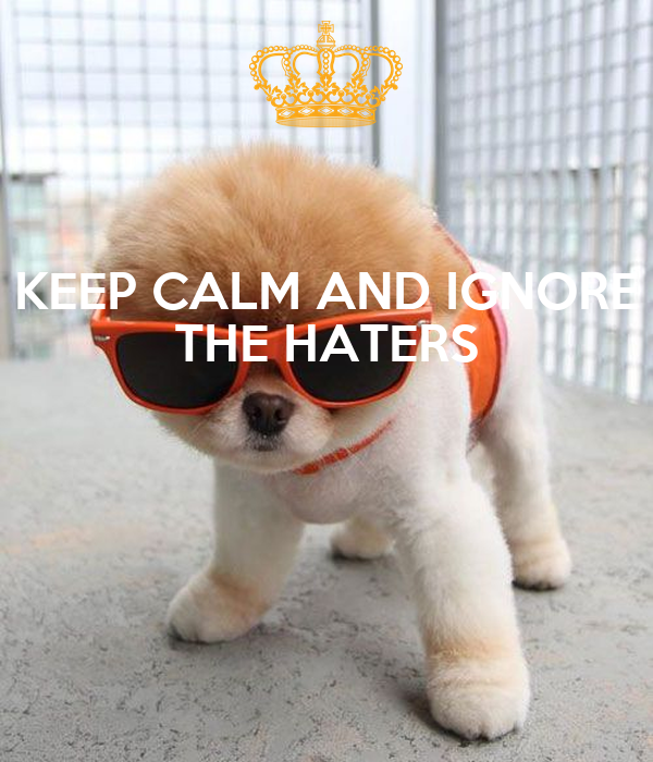 KEEP CALM AND IGNORE THE HATERS