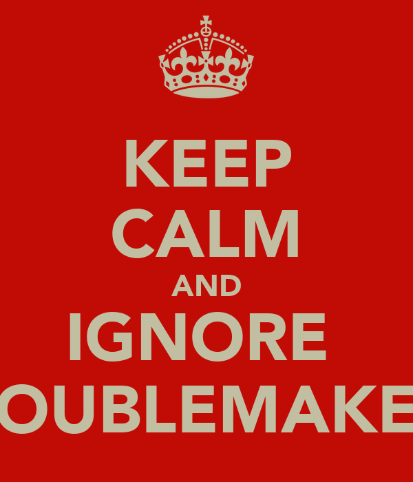 KEEP CALM AND IGNORE  TROUBLEMAKERS