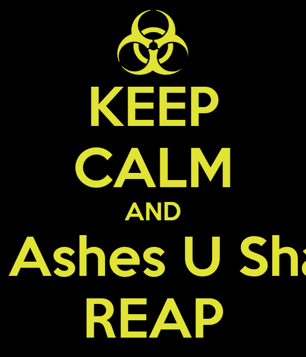 KEEP CALM AND In Ashes U Shall REAP