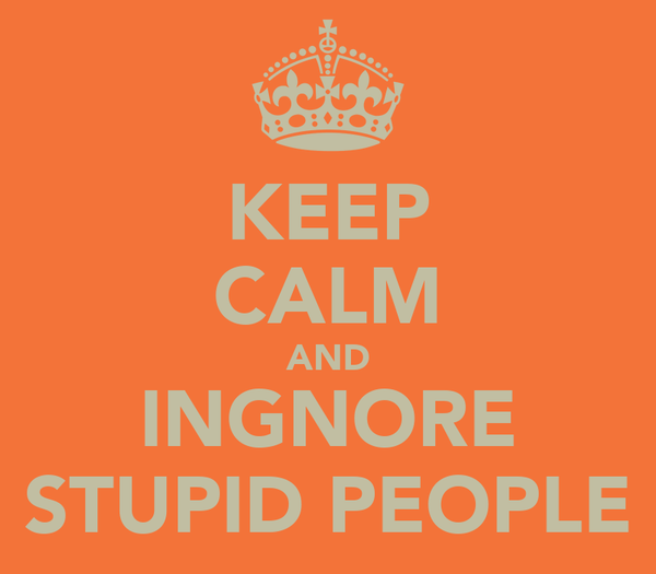 KEEP CALM AND INGNORE STUPID PEOPLE