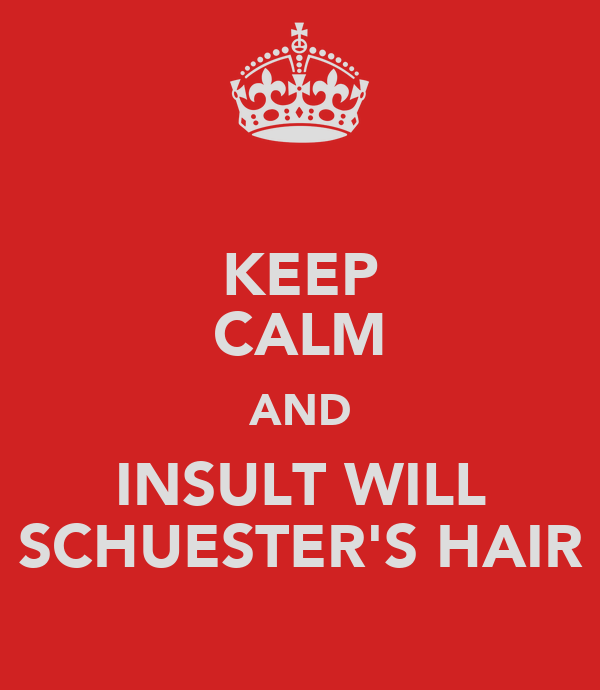 KEEP CALM AND INSULT WILL SCHUESTER'S HAIR