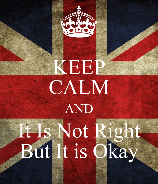 KEEP CALM AND It Is Not Right But It is Okay