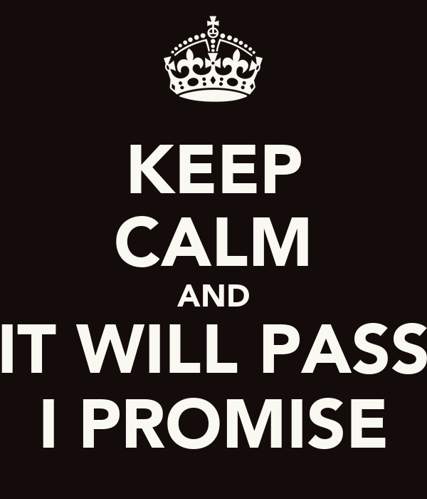 KEEP CALM AND IT WILL PASS I PROMISE
