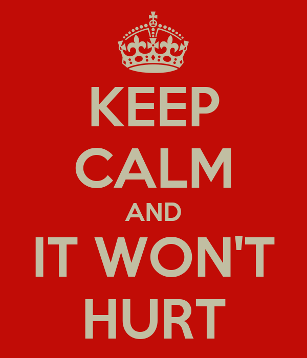 KEEP CALM AND IT WON'T HURT