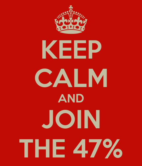 KEEP CALM AND JOIN THE 47%