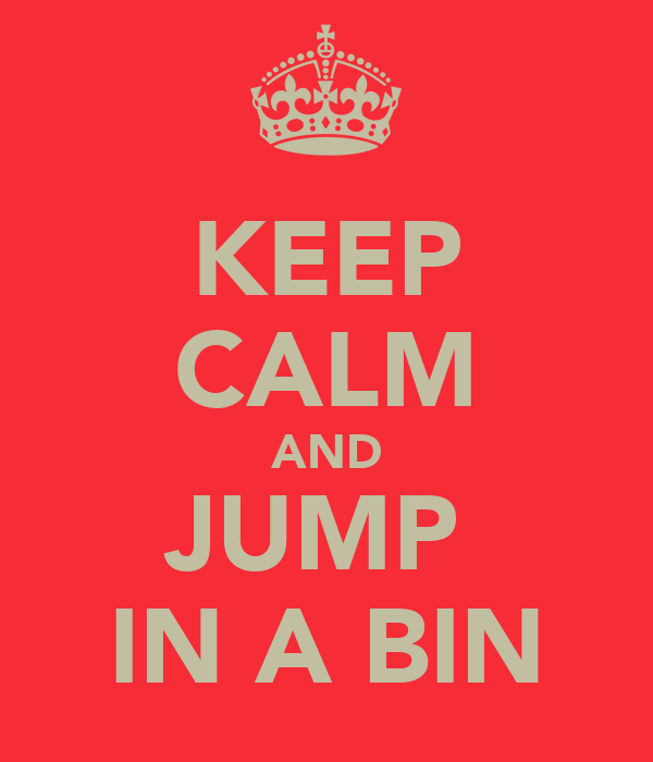 KEEP CALM AND JUMP  IN A BIN