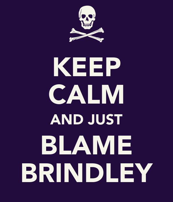 KEEP CALM AND JUST BLAME BRINDLEY