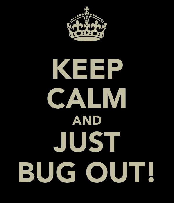 KEEP CALM AND JUST BUG OUT!