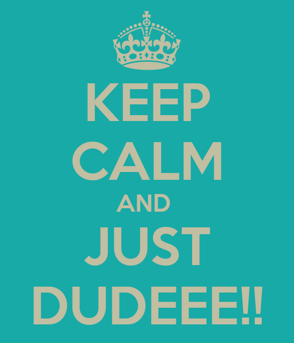 KEEP CALM AND  JUST DUDEEE!!