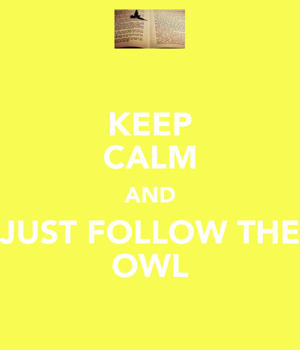 KEEP CALM AND JUST FOLLOW THE OWL
