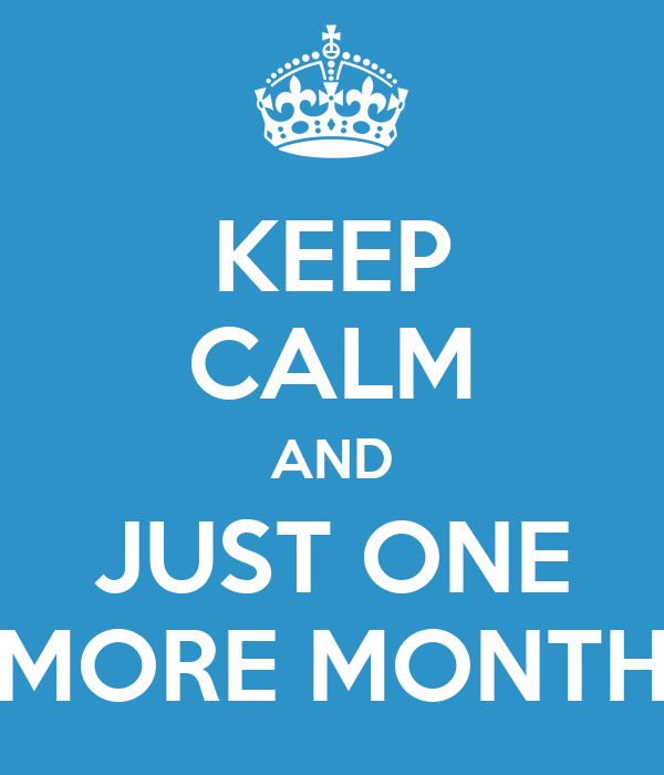KEEP CALM AND JUST ONE MORE MONTH