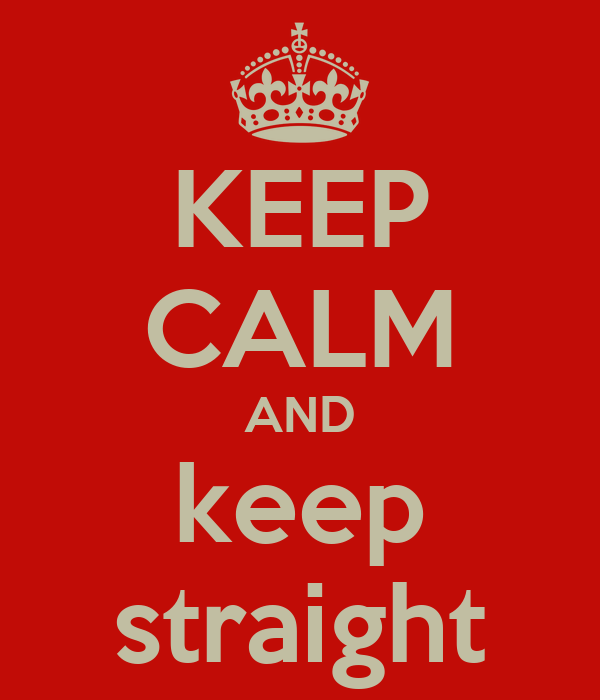 KEEP CALM AND keep straight