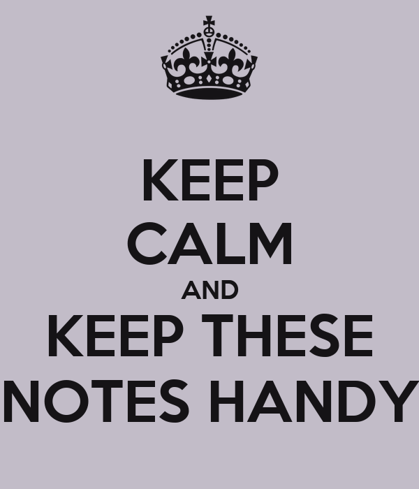KEEP CALM AND KEEP THESE NOTES HANDY