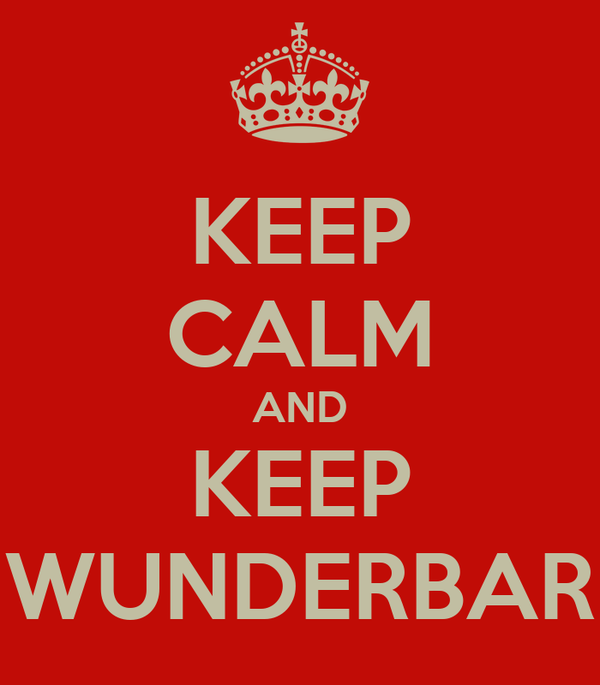 KEEP CALM AND KEEP WUNDERBAR