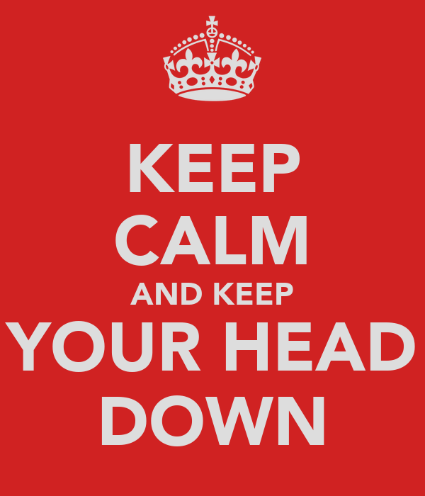 KEEP CALM AND KEEP YOUR HEAD DOWN
