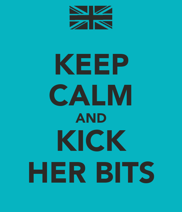 KEEP CALM AND KICK HER BITS