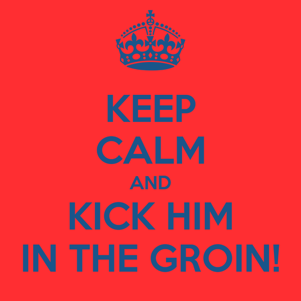 KEEP CALM AND KICK HIM IN THE GROIN!