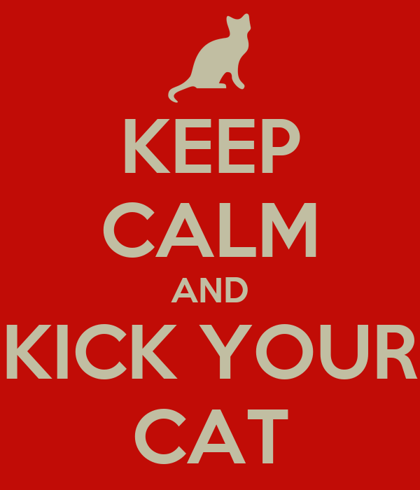 KEEP CALM AND KICK YOUR CAT