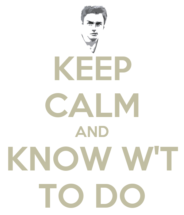 KEEP CALM AND KNOW W'T TO DO