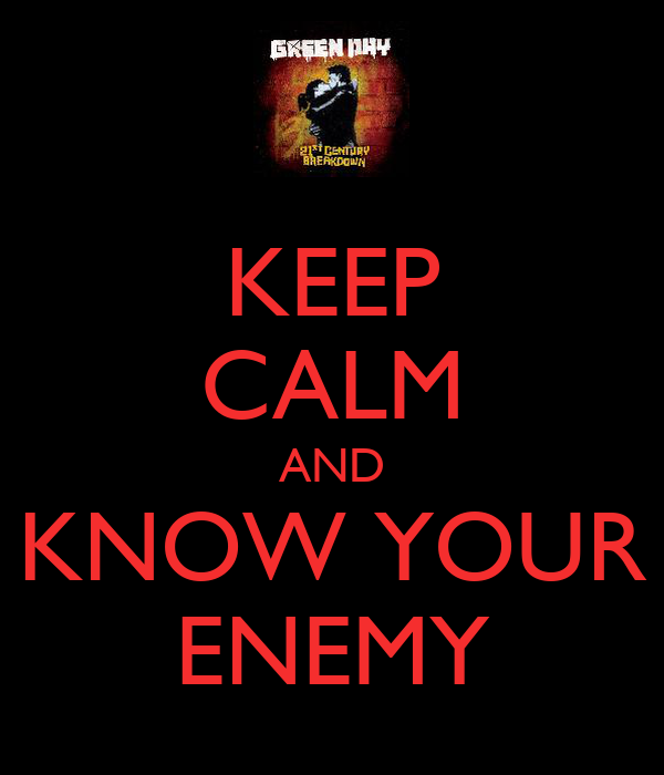 KEEP CALM AND KNOW YOUR ENEMY