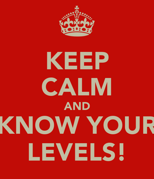 KEEP CALM AND KNOW YOUR LEVELS!