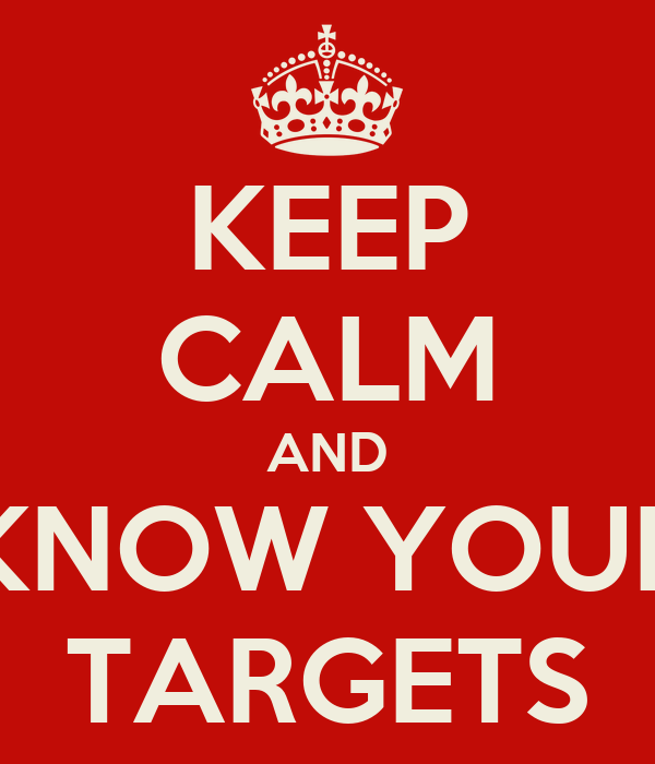 KEEP CALM AND KNOW YOUR TARGETS