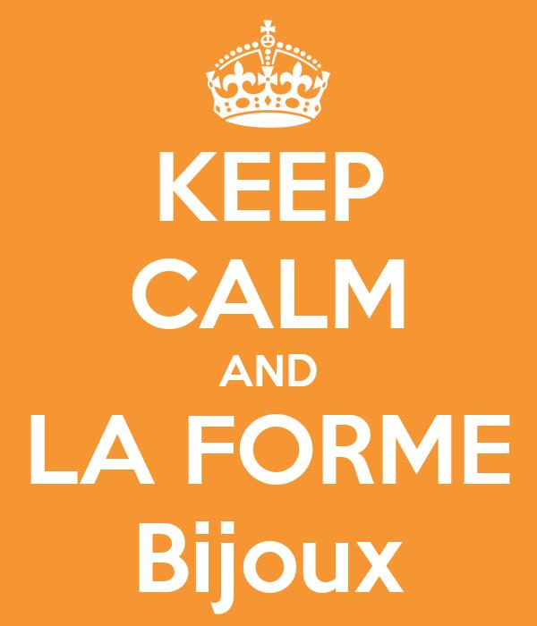 KEEP CALM AND LA FORME Bijoux