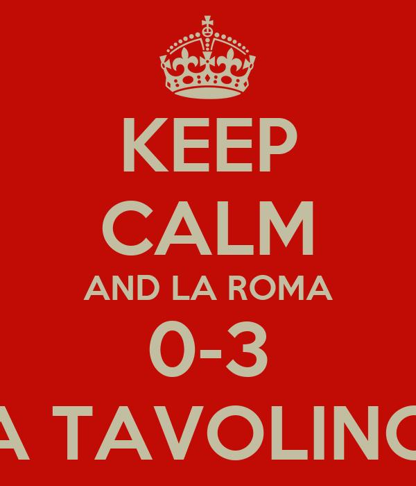 KEEP CALM AND LA ROMA 0-3 A TAVOLINO