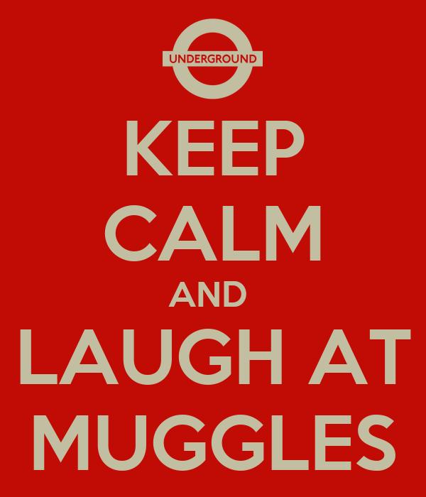 KEEP CALM AND  LAUGH AT MUGGLES