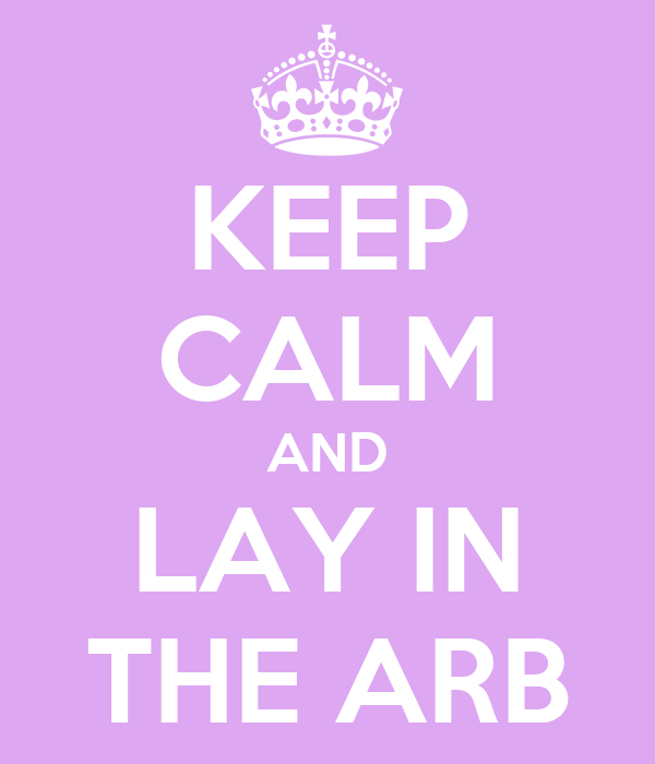KEEP CALM AND LAY IN THE ARB