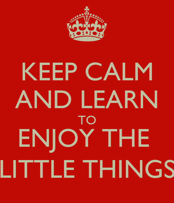 KEEP CALM AND LEARN TO ENJOY THE  LITTLE THINGS