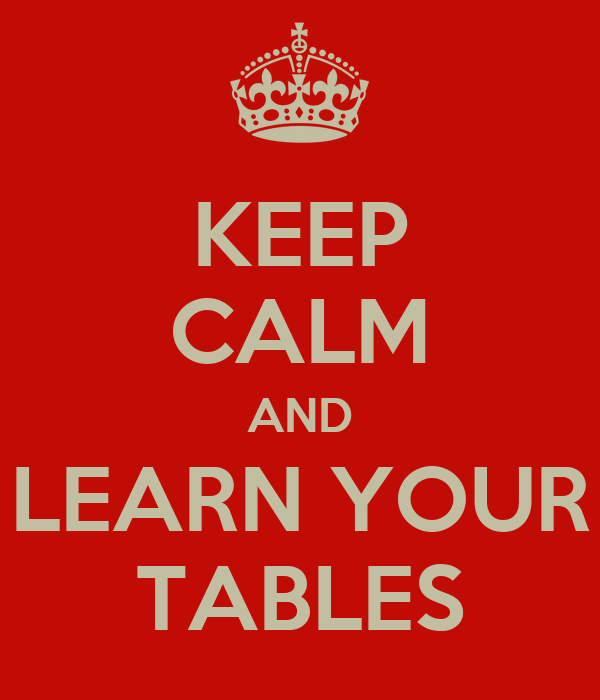 KEEP CALM AND LEARN YOUR TABLES