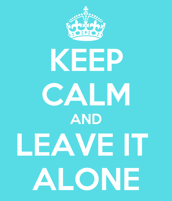 KEEP CALM AND LEAVE IT  ALONE