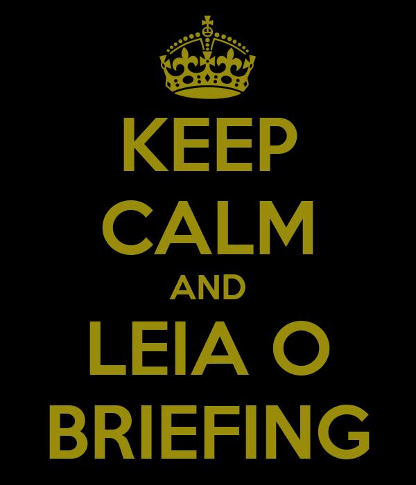 KEEP CALM AND LEIA O BRIEFING