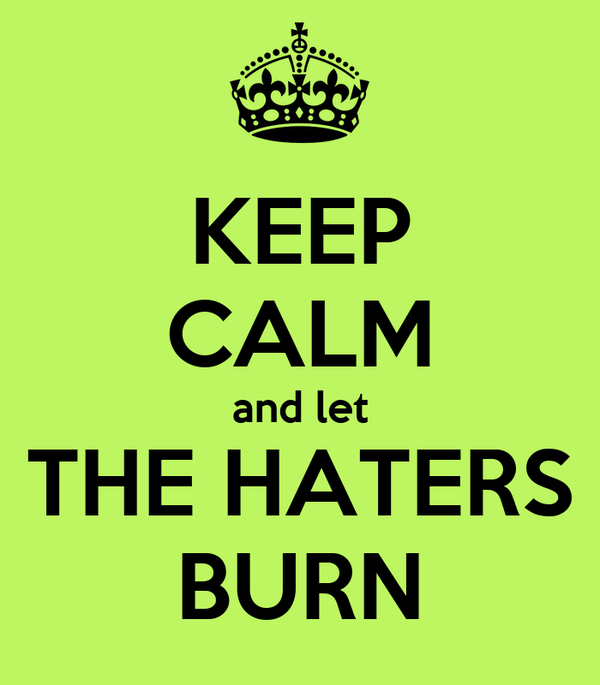 KEEP CALM and let THE HATERS BURN