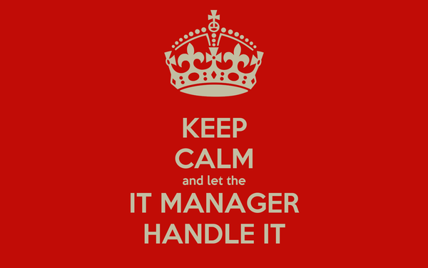 KEEP CALM And Let The IT MANAGER HANDLE IT Poster