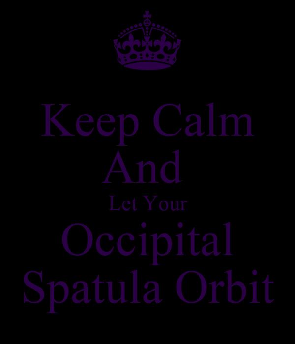 Keep Calm And  Let Your Occipital Spatula Orbit