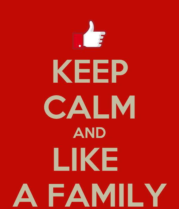 KEEP CALM AND LIKE  A FAMILY