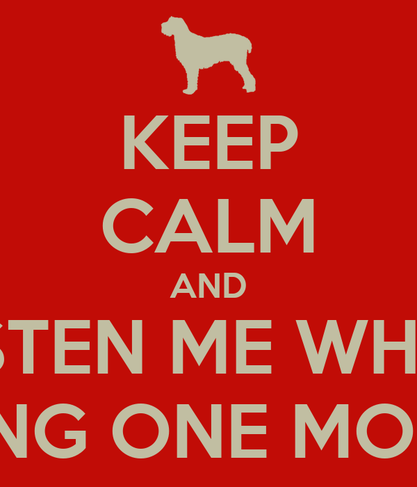 KEEP CALM AND LISTEN ME WHEN I'M SINGING ONE MORE NIGHT