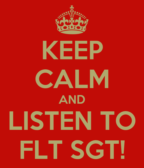 KEEP CALM AND LISTEN TO FLT SGT!