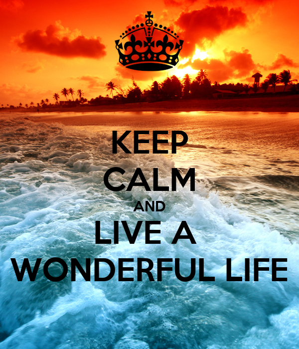 KEEP CALM AND LIVE A  WONDERFUL LIFE