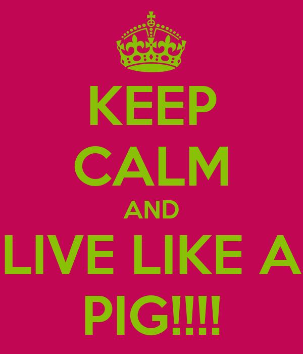 KEEP CALM AND LIVE LIKE A PIG!!!!