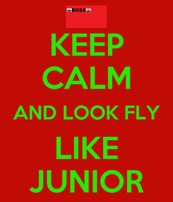 KEEP CALM AND LOOK FLY LIKE JUNIOR