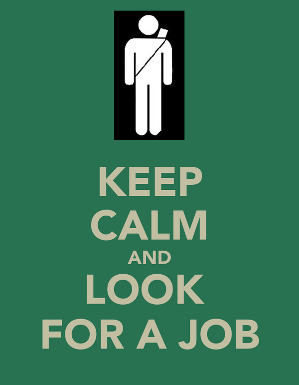 KEEP CALM AND LOOK  FOR A JOB