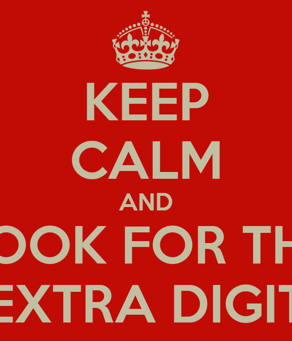 KEEP CALM AND LOOK FOR THE EXTRA DIGIT